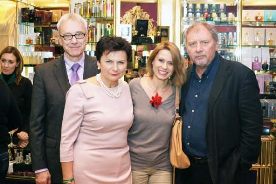 Marek i Stanisława Missala oraz Anita Kruszewska i Andrzej Grabowski na 20. urodzinach Perfumerii Quality w C.H. Blue City w Warszawie