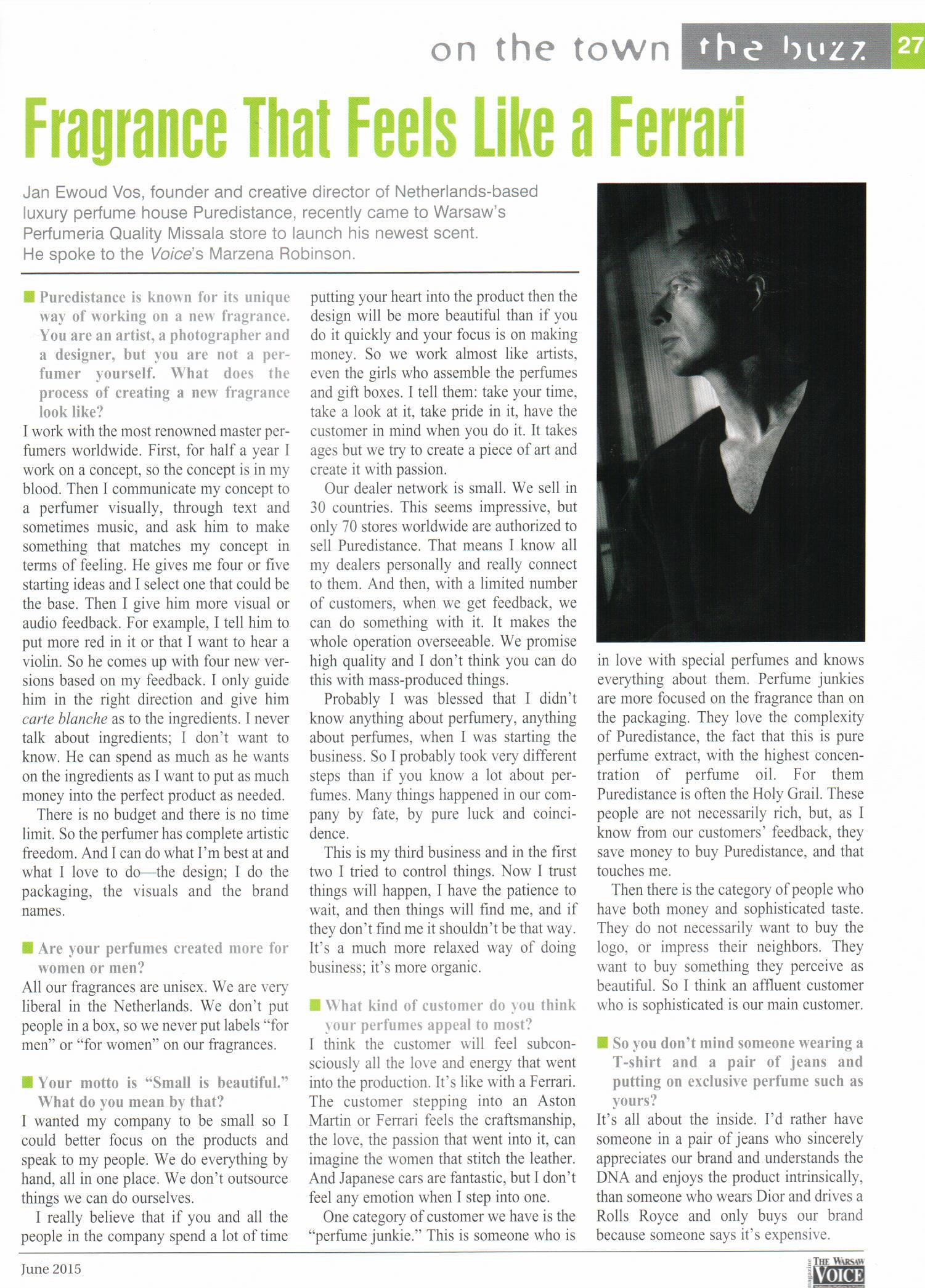 2015.06 The Warsaw Voice_PUREDISTANCE Wywiad z Janem Vosem